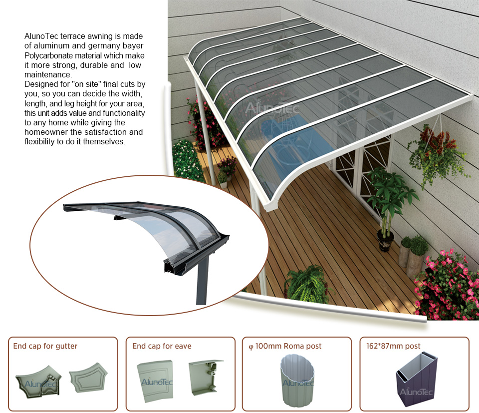Waterproof Easily Assembled Aluminum Canopy Polycarbonate