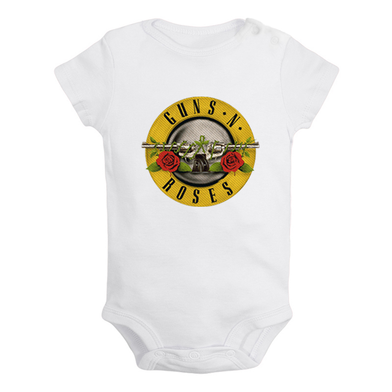 Guns N' Roses Rock Band Newborn Baby Girl Boys Clothes Short Sleeve Romper Jumpsuit Outfits 100% Cotton