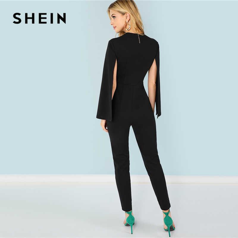 SHEIN черный уличная офисная Дамская накидка с глубоким вырезом, рукав-накидка, современный сексуальный Макси-конический комбинезон, осенняя Женская рабочая одежда, комбинезоны