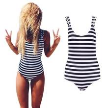 Newest Striped High Neck Halter Hollow Out One Piece Swimsuit Women 2016 Bathing Suits Sexy Beach