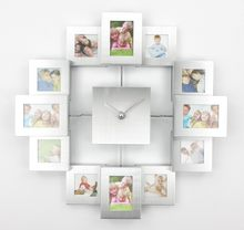 Modern Design Photo Frame Clock with 12 Pictures Large Decorative Metal Wall Clock Living Room Art Decor Horloge Murale(China)