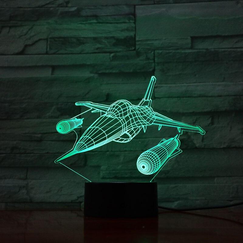 F-16 Söndürme Falco Uçağı Warcraft Modeli Usb 3d Led gece Lambası Illusion Fighter gece lambas Savaş Uçağı Masa Lambası Başucu