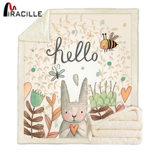 Miracille Sherpa Fleece Rabbit Print Blanket Super Warm Soft Decorative Throw Blankets on Sofa Bed Childrens Room Bedspread