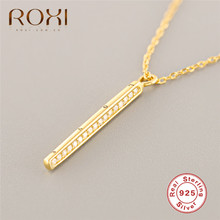 ROXI Personalized Square Bar Necklaces & Pendants Long Chain Statement Necklace 925 Sterling Silver Austrian Crystal