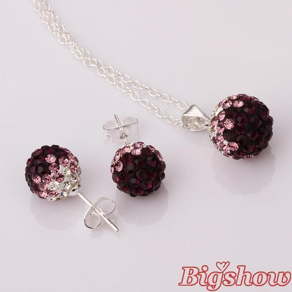 2016 Shamballa new style stud Earrings Necklace Set sparkling Austrian crystal Purple to White