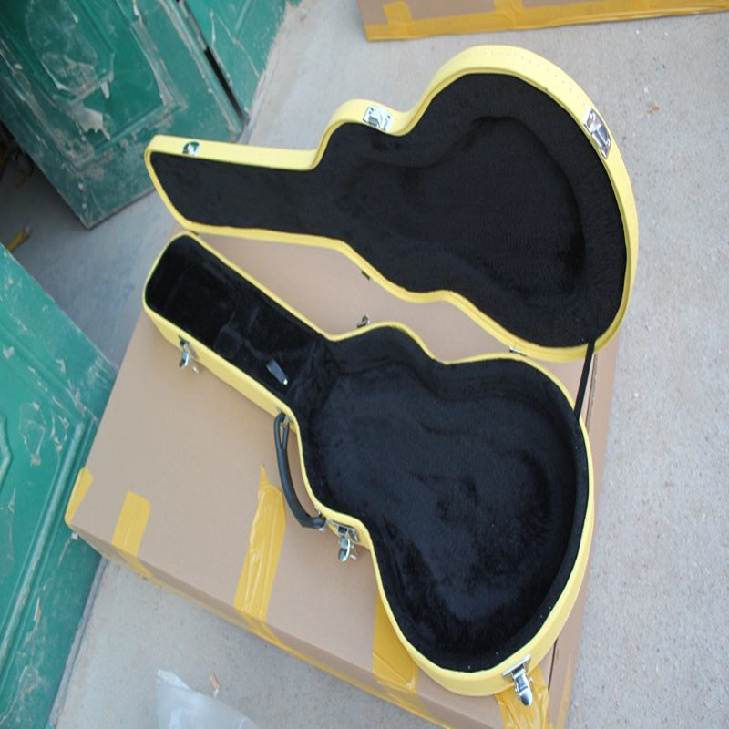 NEW!Yellow leather guitar trunk box, with guitar for sale, not sold separately new electric guitar black hardcase not sell separately sale with guitar together