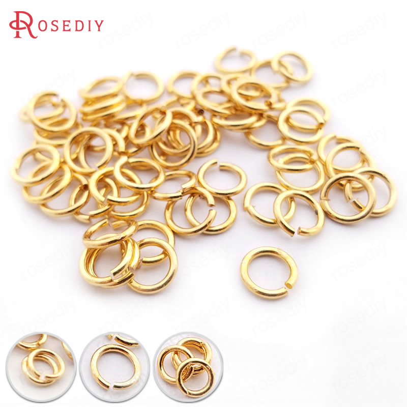 10g 3*0.5MM 4*0.7MM 5*0.8MM 6*0.9MM 8*1.2MM 10*1.2MM 24K Gold Color Jump Rings Split Rings Jewelry Making Supplies