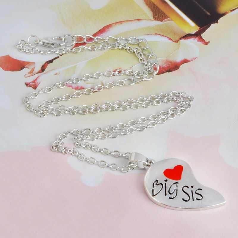 2 sztuk/zestaw kształt serca duży SIS LITTLE SIS wisiorek rodzina naszyjnik siostra naszyjnik biżuteria rodzina biżuteria