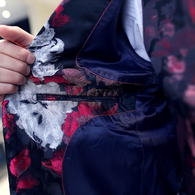 vestes Robe Mariée De Smoking Ensemble Pantalon D'impression Costumes Gilet Fit 2019 jaune Mens Bleu Mâle Mode Marque D'affaires Nouveau Floral Fleur Slim rouge A0UAWrnqv