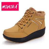 MINIKA Lace Up Winter Boots Women Warmful Plush Insole Durable Women Winter Shoes Height Increase Waterproof