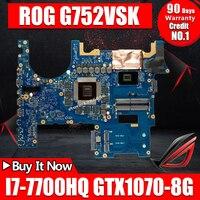 Placa base para ordenador portátil For Asus ROG G752VSK placa base original CM236 I7-7700HQ INTERCAMBIO DE GTX1070-8G