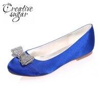 Sweet Round Toe Flats With Rhinestone Diamond Bowknot Woman Shoes Slip On Royal Blue Silver White
