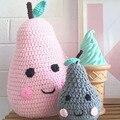 DIY Bonito almofadas almofadas em forma de pêra travesseiro mão de malha crochet do bebê bonecas de travesseiro decorativo travesseiro recheado de brinquedos para as crianças