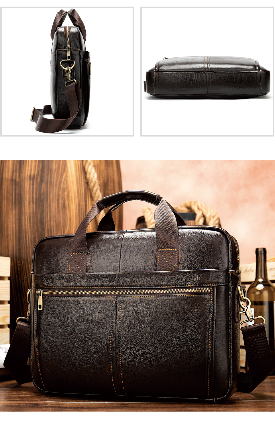 WESTAL Men's Briefcase Men's Bag Genuine Leather Laptop Bag Leather Computer/Office Bags for Men Document Briefcases Totes Bags