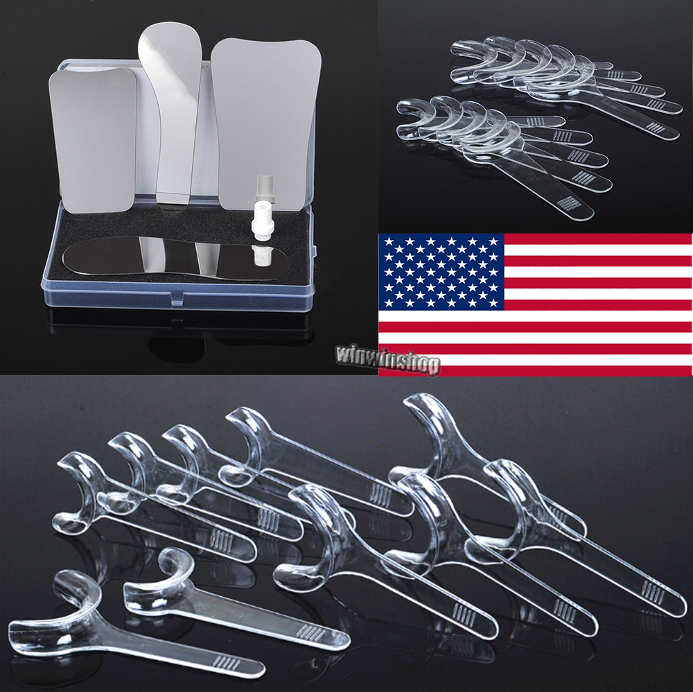 1Set/4pcs Dentist Oral Orthodontic Intraoral Stainless Steel Photographic Mirrors+10pcs Retractor Mouth Cheek Openers