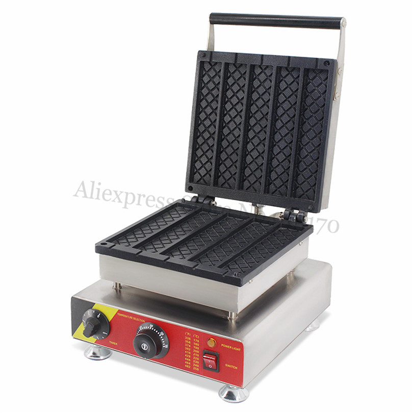 Commercial Long Rectangle Waffle Machine Stainless Steel Strip Waffle Baker Maker with Timer and Temperature Controller digital and commercial double head waffle maker rectangle waffle machine