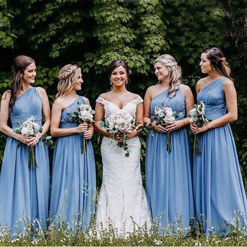 One Shoulder   Bridesmaid     Dresses   Pleats Chiffon Long Bride Maid Of Honor Party   Dresses   2019 Light Sky Blue Women   Bridesmaid   Gowns