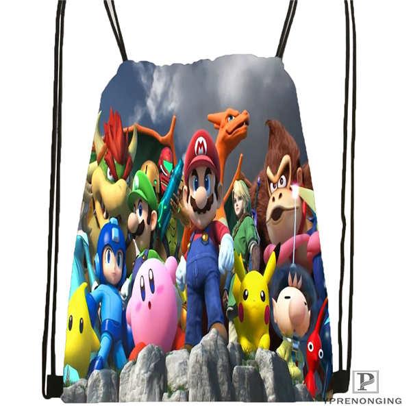 Custom New-Super-Mario-Bros  Drawstring Backpack Bag Cute Daypack Kids Satchel (Black Back) 31x40cm#2018612-02-10