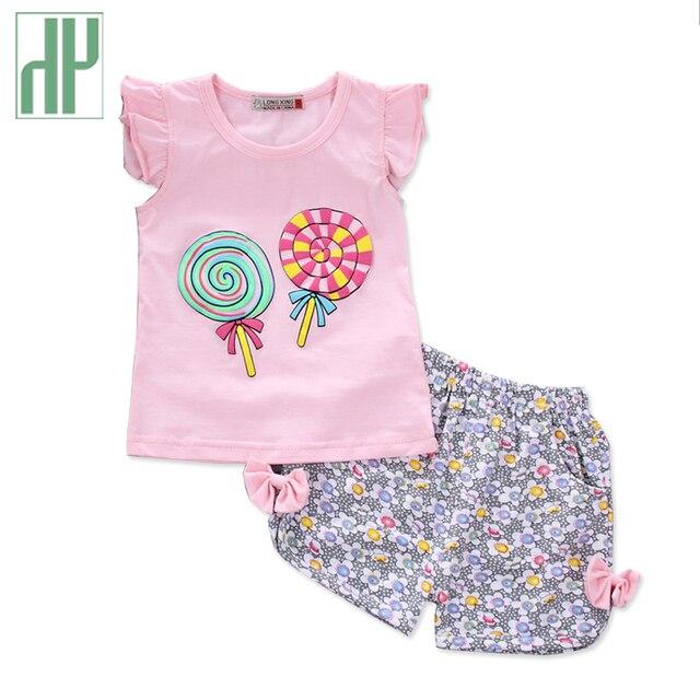 Conjunto de ropa para niñas pequeñas 2018 cuello redondo verano top +  Pantalones 2 piezas niños fdba42e5cebfb
