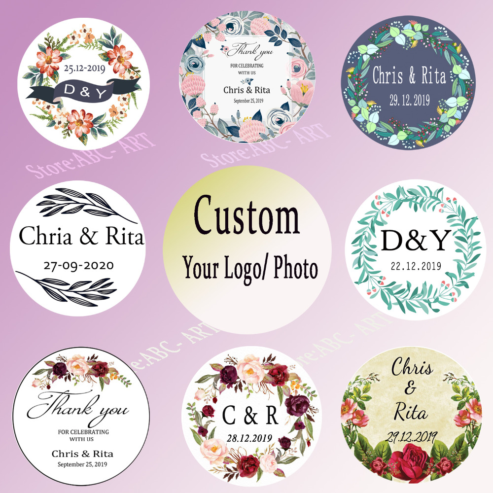"Custom Labels Personalized Stickers 1/"" Round  Tag envelope seals BLACK /& WHITE"