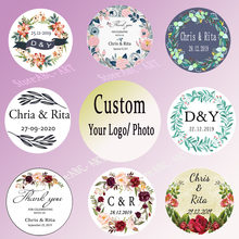 Custom Wedding Stickers Candy Favors Gift Boxes Handmade Gift tag Wreath Flower Labels Envelope Seals 3-6cm Circle(China)
