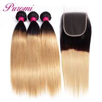 Puromi волос Бразильский прямые волосы с закрытием 1b/27 Omber человеческих волос 3 Связки с закрытием бесплатная часть не реми волос