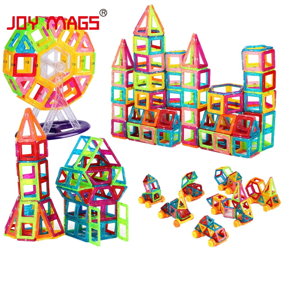 JOY MAGS Toy Mini Magnetic 100/110/130 bucati / lot Constructii Blocuri de constructii Jucarii DIY 3D Designer magnetic Caramizi educative