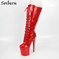 Sorbern Red Heels 20cm High Platform ABS Soles Boots Custom Wide Calf Leg Red Shoes Woman Black/White Lace up Boots Side Zipper