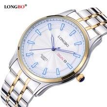 ff13472f4d7 Amantes LONGBO Luxo Casal Relógios Homens Data Dia À Prova D  Água Mulheres  Ouro Aço