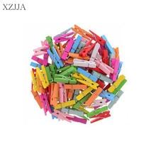 XZJJA 50Pcs Wood Clothes Pegs Socks  Mini Pins Clothespin Colorful Wooden Home Decor Photo Paper Clamp Craft Arts Clips 35MM