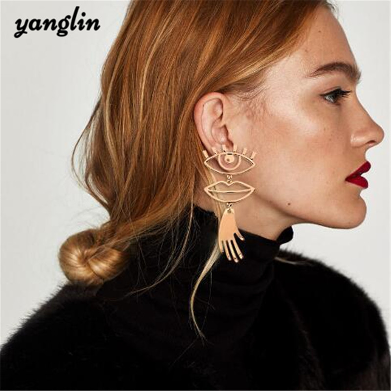 Funny Jewelry Boho Gold Sliver Eyes Mouth Hand Abstract Earrings For Women Fashion Bohemian Statement Long Drop Earrings Brincos