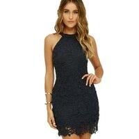 2018 O Neck Lace Patchwork Sexy Party Dresses Vestidos Fashion Women Summer Plus Size Ladies Black