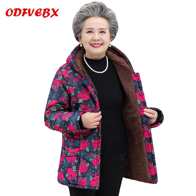 Plus Size Women's Cotton Jackets Plus Velvet Thick Guard Clothes Jacket Winter Wear Elderly Winter Printed Hooded Jacket Female