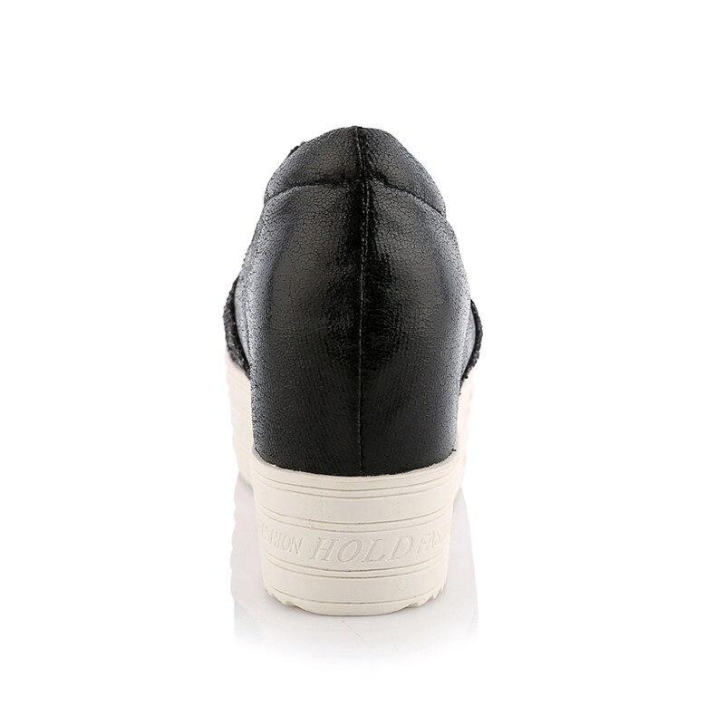 Plat 31 Épais forme Automne 2019 Printemps 43 Sarairis Chaussures Plate Mocassins on Femme argent Glitter Grande Noir Croissante Slip Hauteur Taille nw0aXqwE7f