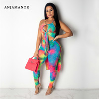 ANJAMANOR Tie Dye Women Two Piece Club Outfits Summer Sexy Clothes Matching Sets 2 Piece Set Top and Pants New 2019 D89 AF51
