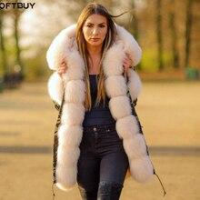 Бренд OFTBUY, новинка, длинная камуфляжная зимняя куртка, женская верхняя одежда, толстые парки, натуральный Лисий мех, воротник, пальто с капюшоном, pelliccia