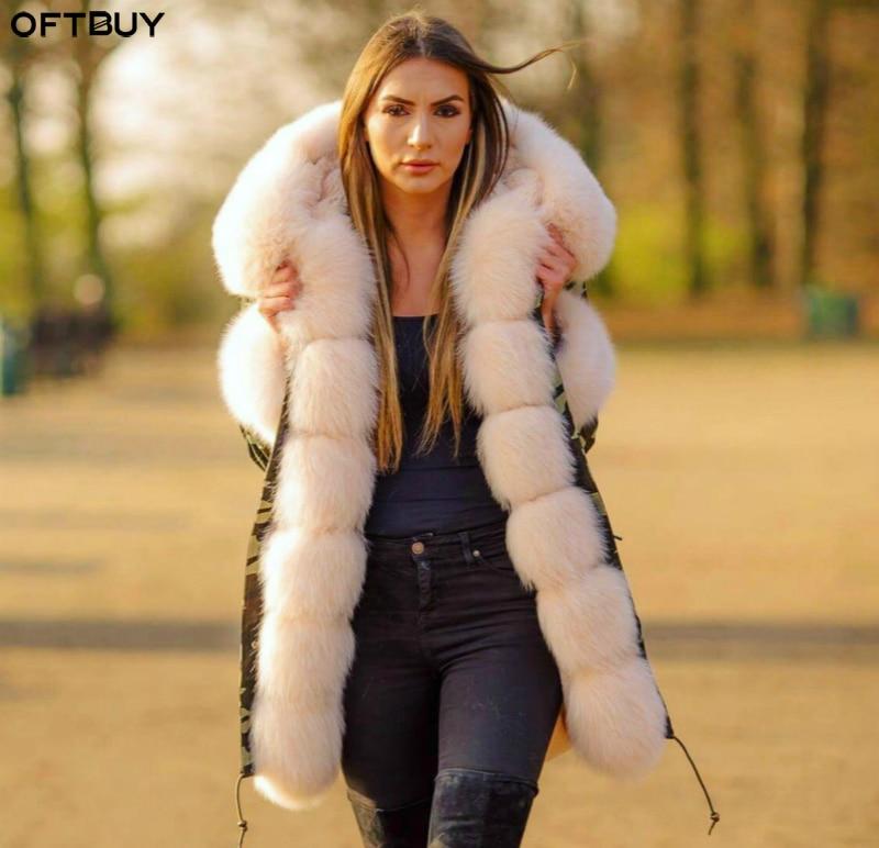 OFTBUY marque 2019 nouvelle longue Camouflage veste d'hiver femmes outwear épais parkas naturel réel renard manteau à col en fourrure à capuchon pelliccia
