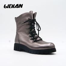 IDizme motorike prej lëkure origjinale LIDIAN IDizme motorike Leshi të pastër brenda këpucëve të grave të rrumbullakëta me majë metalike