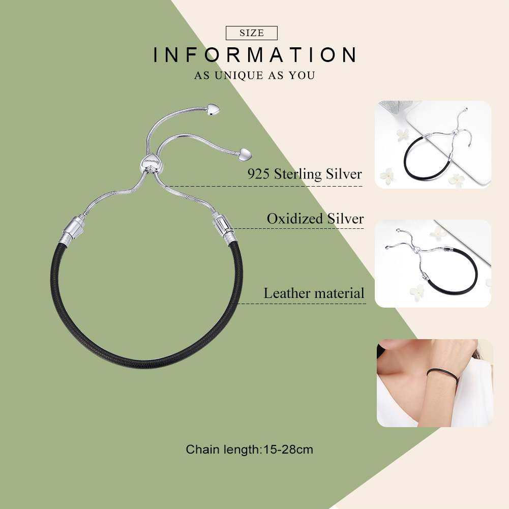 Image 2 - BAMOER Authentic 925 Sterling Silver Classic Black Leather Lace Up Chain Bracelets for Women Sterling Silver Jewelry SCB120-in Chain & Link Bracelets from Jewelry & Accessories