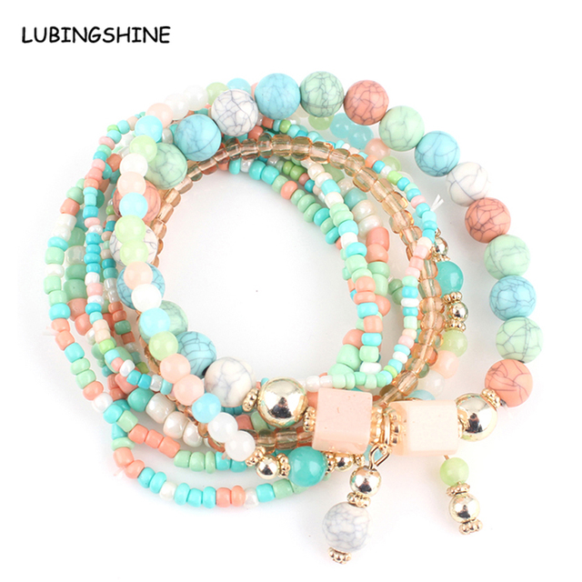 8 Pieces Stone Multilayer Beads Stack Bracelets & Bangles for Women Men Bohemian
