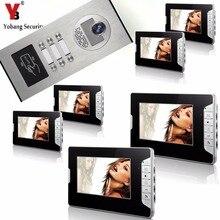 Yobang Security 6 Units Apartment Intercom System Video Intercom Video Door Phone Kit HD Camera 7 Inch Monitor with RFID keyfobs