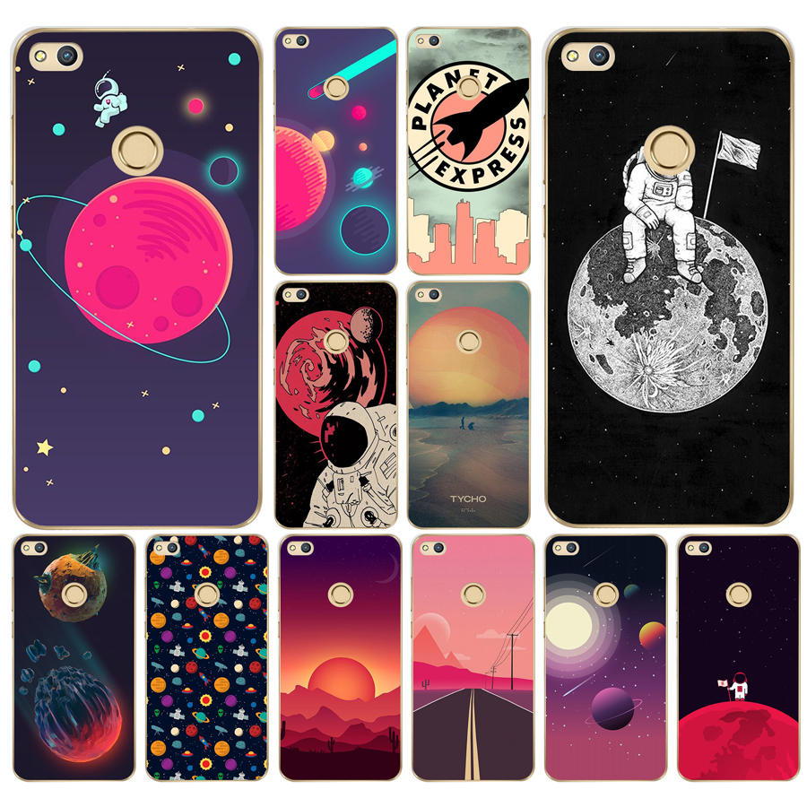 255ad Space Moons Cartoon Hard Transparent Cover Case For Huawei P8 P20 Honor 9 Lite Mate 10 Pro Y6 Y5 2017 To Clear Out Annoyance And Quench Thirst Half-wrapped Case Cellphones & Telecommunications