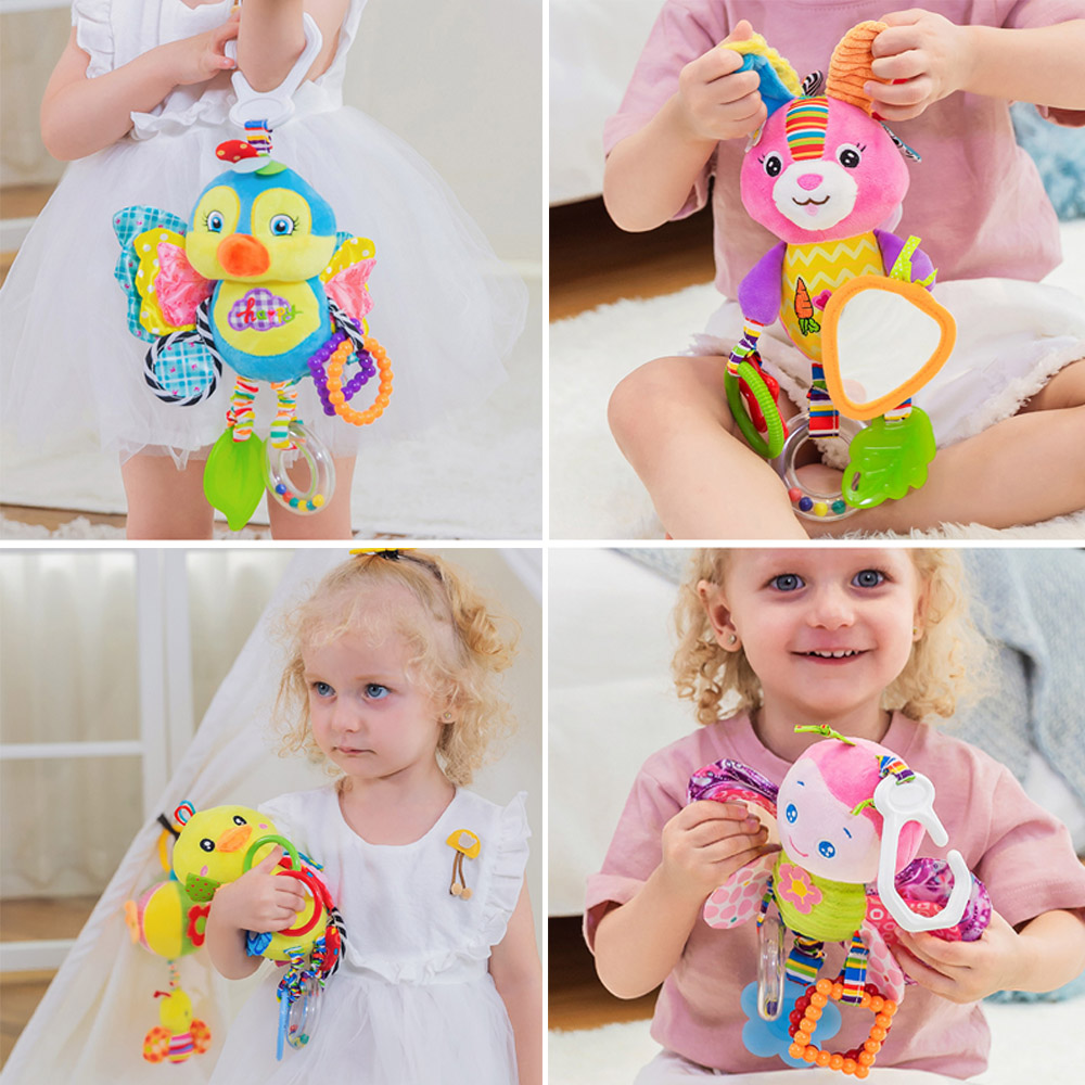 Newborns Baby Rattle Mobiles Toys Pram Bed Stroller Hanging Toys Stuffed Soft Plush Animal Toys Appease Teether 0-24 Months Gift
