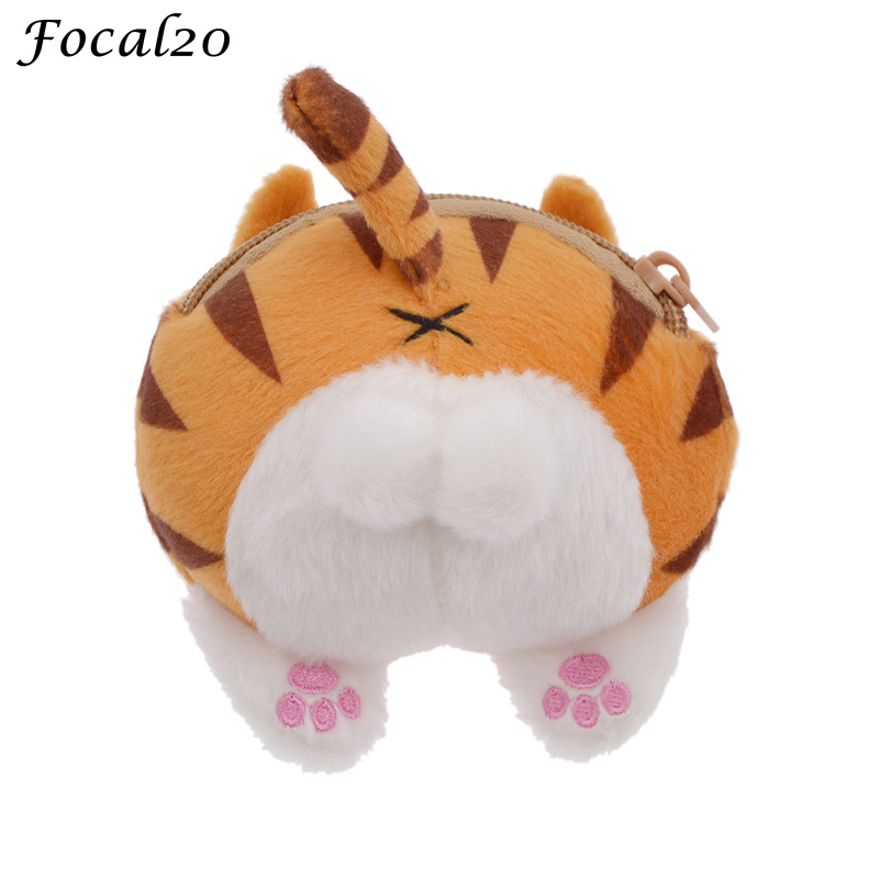 Focal20 Women Cute Cat Shape Mini Coin Purse Neko Ass Shoulder Bag PP Fill Casual Ladies Messenger Bags dachshund dog design girls small shoulder bags women creative casual clutch lattice cloth coin purse cute phone messenger bag
