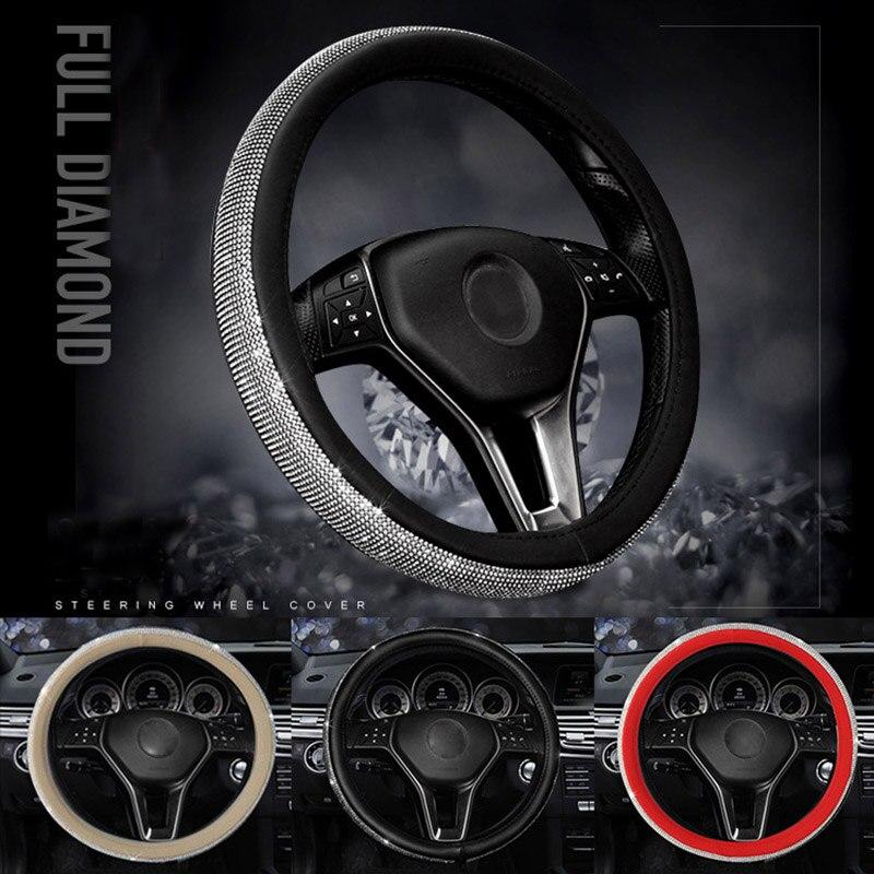 Diamante de volante de coche cubiertas para mujeres chicas de dama de cuero de diamantes de imitación de cristal de dirección de la rueda de los casos Auto Interior Accesorios