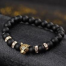 Kamień naturalny koraliki męskie bransoletki szczęście urok matowy czarny kamień naturalny koraliki onyks kamień matowy tygrys Leopard bransoletki dla mężczyzn