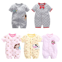 Newborn Baby Boys Girls Short Sleeved Jumpsuit Infant Baby Animal Rompers Cotton Cartoon Roupa Baby Climbing Clothing Pajamas 2018 winter newborn baby boy girls flannel rompers baby cartoon thick warm animal costumes baby cute long sleeved hoodie pajamas