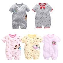 Newborn Baby Boys Girls Short Sleeved Jumpsuit Infant Animal Rompers Cotton Cartoon Roupa Climbing Clothing Pajamas