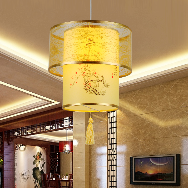 Chinese cloth restaurant pendant light  Chinese antique parchment head single bedroom living room hotel restaurant hall ZH living room chairs hotel hall restaurant