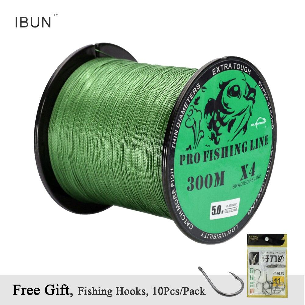 IBUN 300M Braided PE Fishing Line Super Strong 4 Strands Fish Wire For Sea Fishing Carp Brand Fish Rope Cord Peche